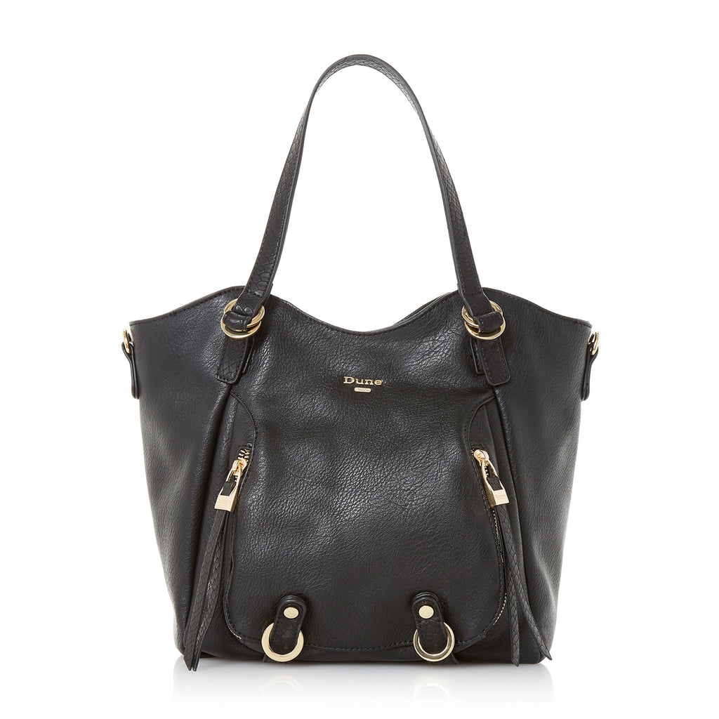 Dune Dodd Large Zip Pocket Tote Bag- Black