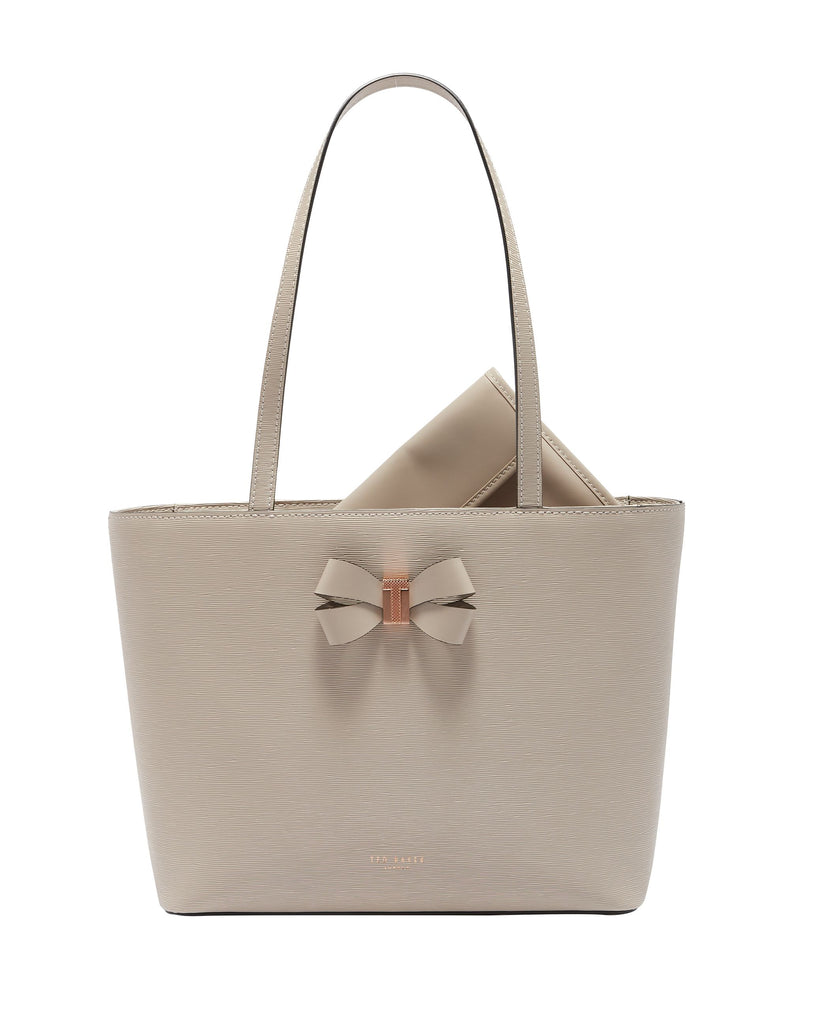 88eb251fe3 Ted Baker Cattas Bow Detail Small Leather Shopper Bag- Taupe – bags 247