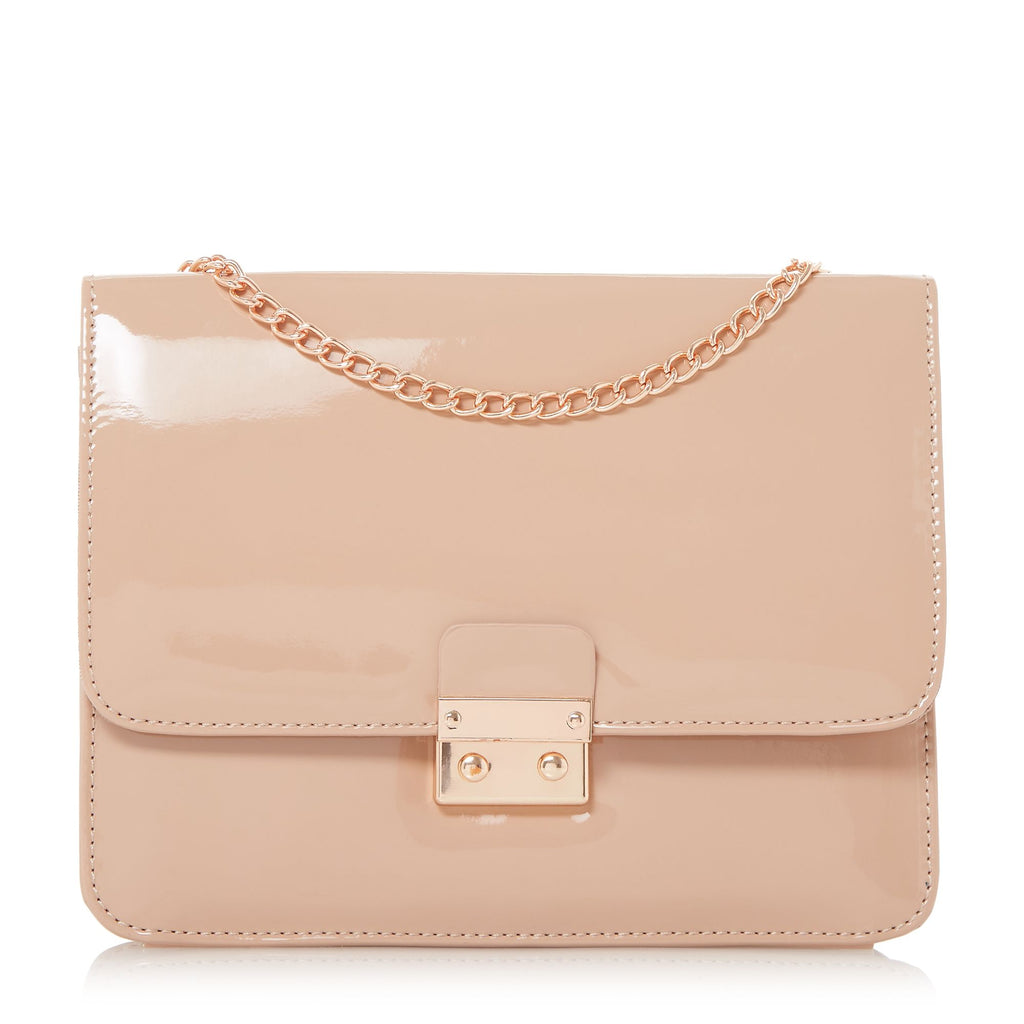 Head Over Heels Bess Square Lock Chain Strap Bag- Nude