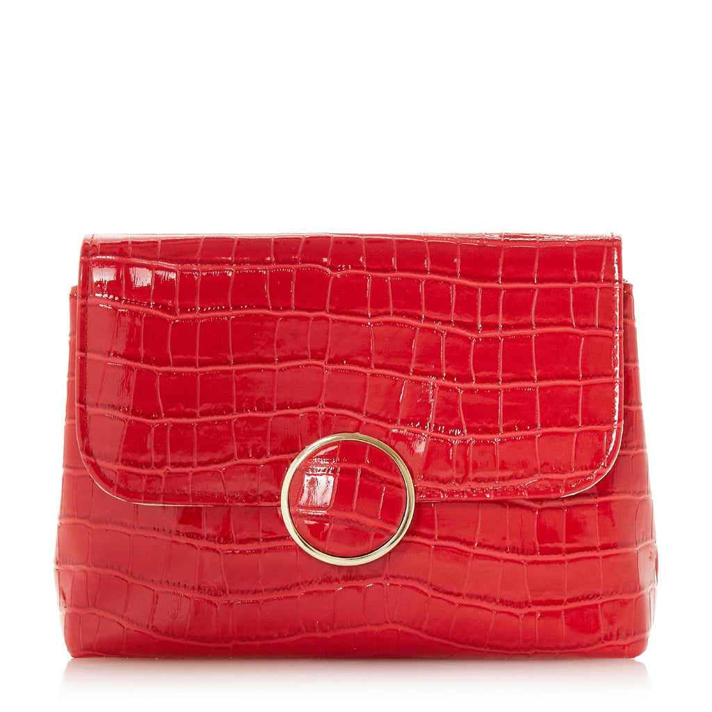 Dune Bayer Croc Foldover Clutch Bag- Red