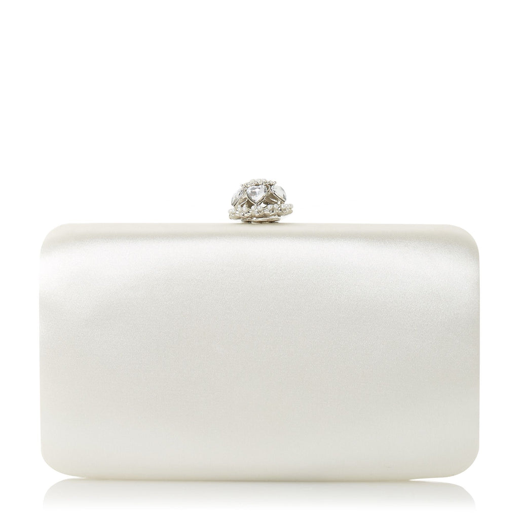 Dune Biana Heart Clasp Clutch Bag- White