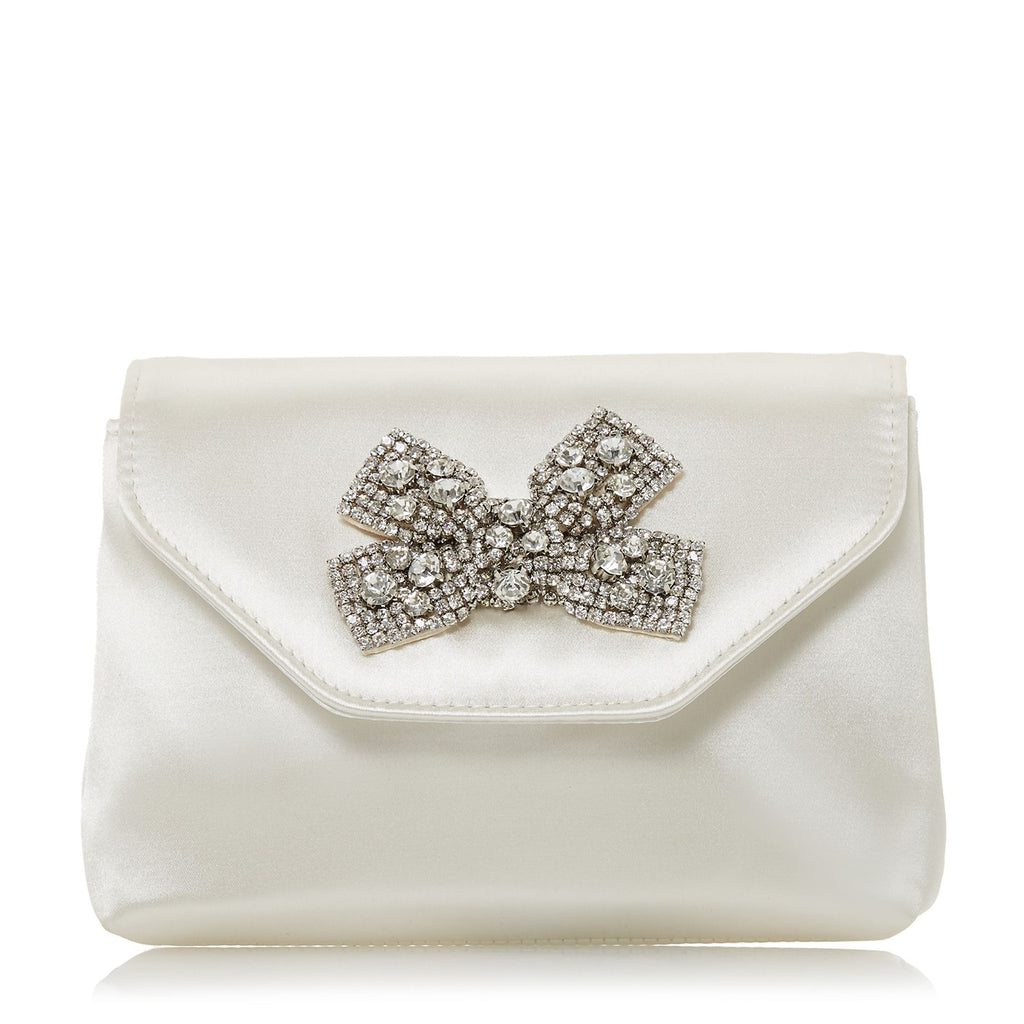 Dune Belightful Diamanted Brooch Clutch Bag- White