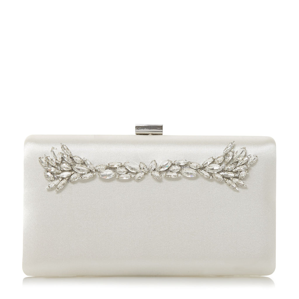 Dune Borrowed Diamante Hard Case Clutch Bag- White