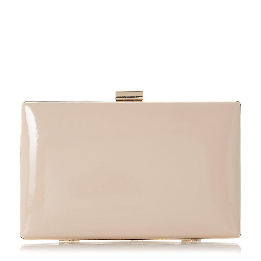 Dune Brocco Gold Trim Clutch Bag- Nude
