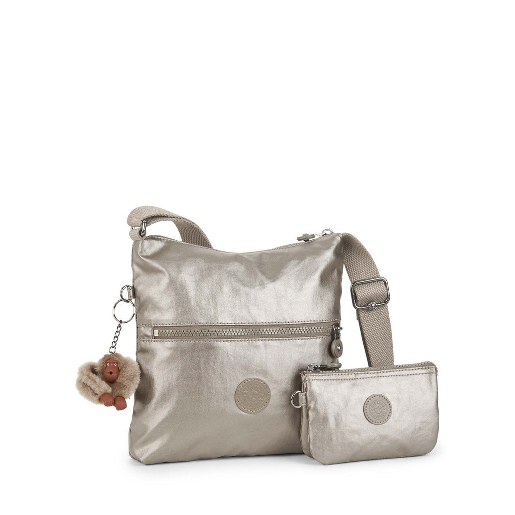 Kipling Zamor Duo Shoulderbag With Small Pouch- Silver Silverlic