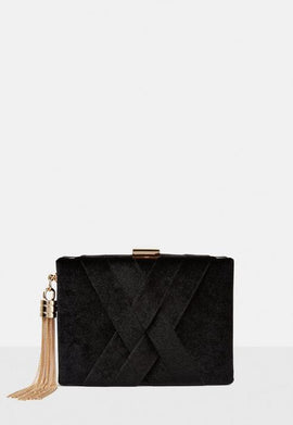 Black Velvet Cross Box Clutch Bag- Black
