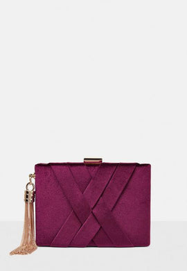 Burgundy Velvet Cross Box Clutch Bag- Pink