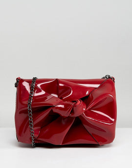 New Look Patent Bow Chain Shoulder Bag - Red