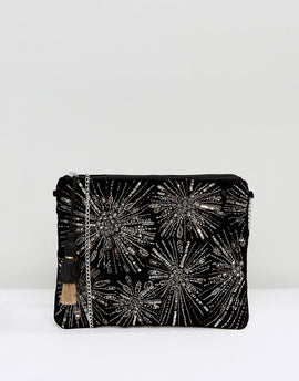 New Look Firework Embroidery Clutch - Black