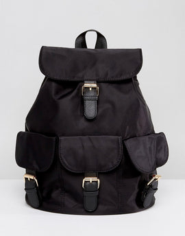 7X Casual Backpack With Multi Buckles - Black