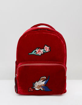 7X Velvet Backpack With Embroidery - Red
