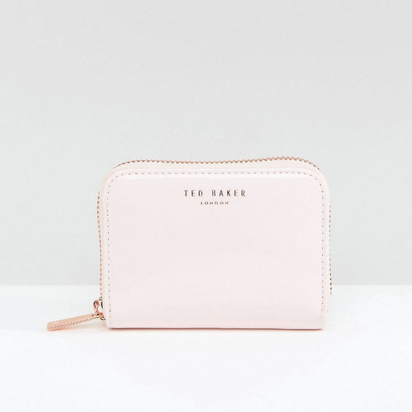 Ted Baker Patent Leather Mini Zip Purse - Pale pink
