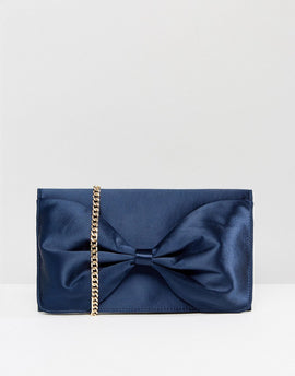 Miss KG Twist Bow Clutch Bag - Navy