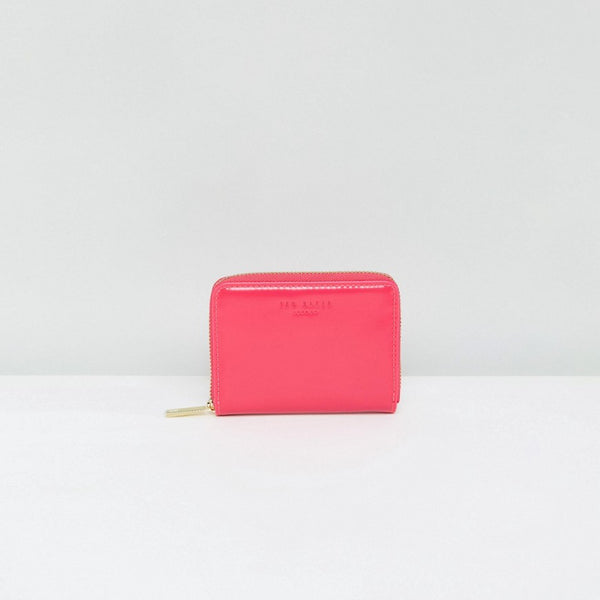 Ted Baker Patent Zip Round Mini Purse - Fuchsia