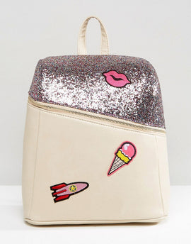 7X Glitter Backpack With Logo Patches - Glitter
