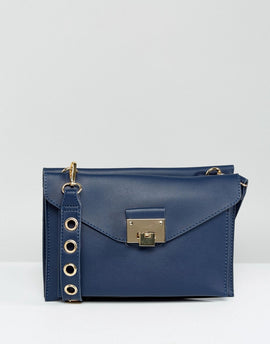 Yoki Boxy Structured Across Body Bag - Navy