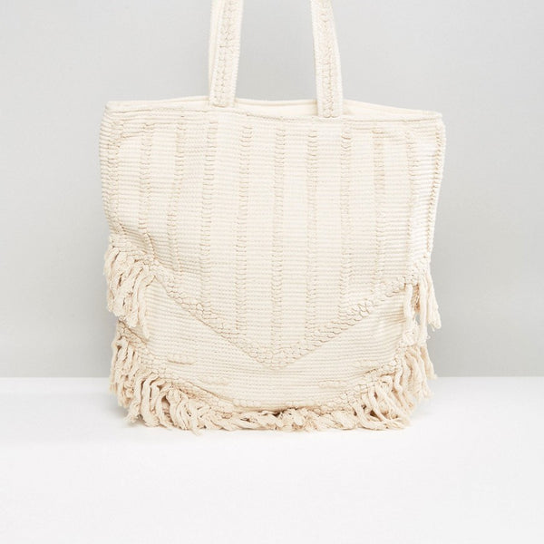Raga Toes In The Sand Fringed Tote Beach Bag - Ivory
