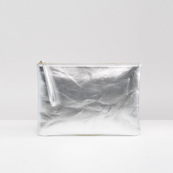 South Beach Metallic Clutch Bag - Silver