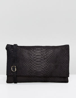 Warehouse Suede Embossed Across Body Bag - Black
