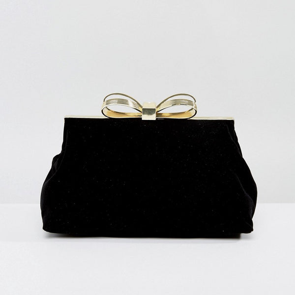 Ted Baker Statement Bow Evening Bag in Velvet - Black
