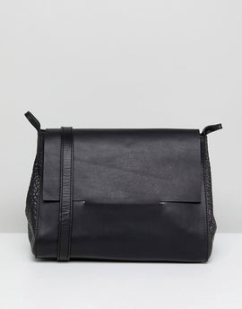 Urbancode Real Leather Boxy Foldover Across Body Bag - Black