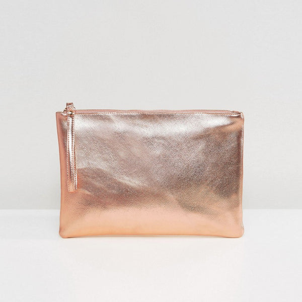 South Beach Rose Gold Metallic Clutch Bag - Rose gold