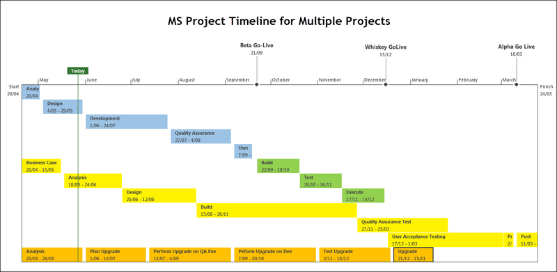 MS Project Timeline for Multiple Projects