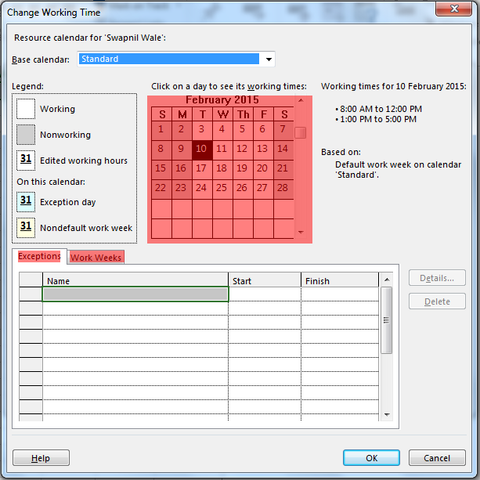Image 2: Change Working Time Main Dialog