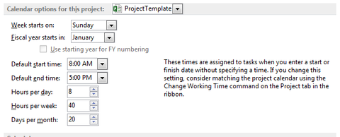 Change daily working time for project