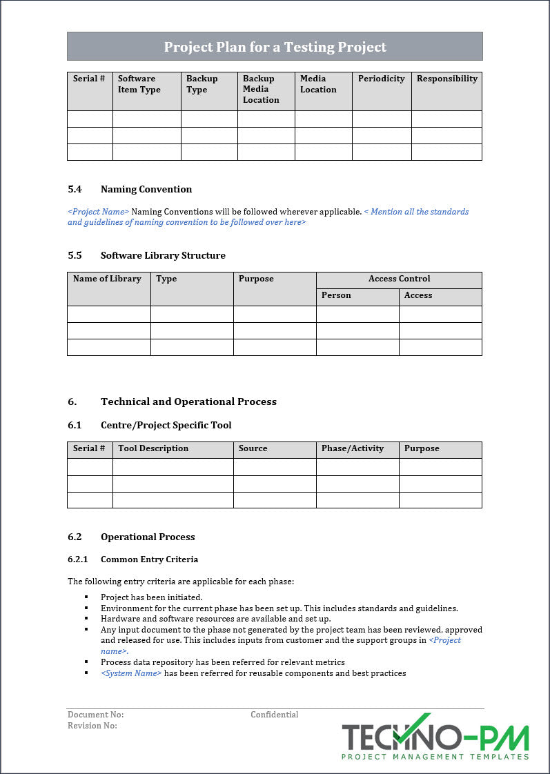 Project Plan for a Testing Project