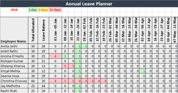 Annual Leave Planner