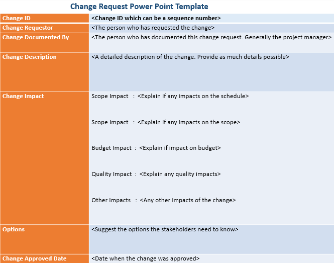 Change Request Power Point Template