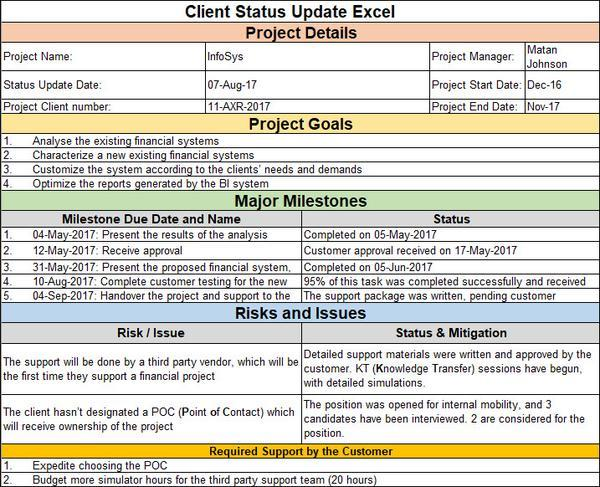 Client Status Update Excel Template