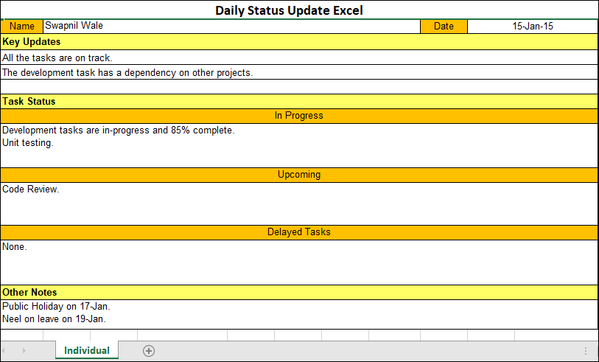 Daily Status Update Excel Template