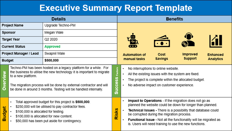 Executive Summary Report Template PPT