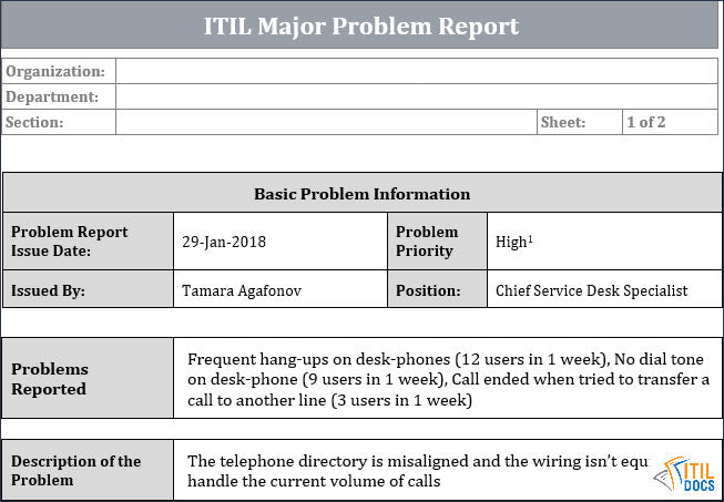 ITIL Major Problem Report Template