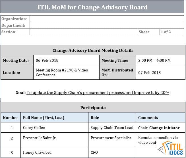 ITIL MoM Template for Change Advisory Board