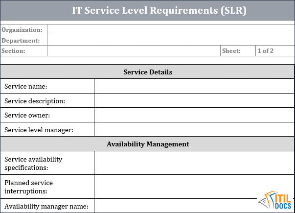 Template for IT Service Continuity Plan