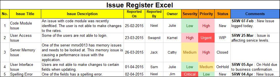 Issue Register Excel Template
