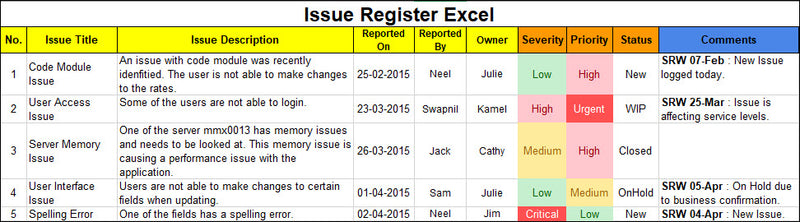 Issue Register Excel