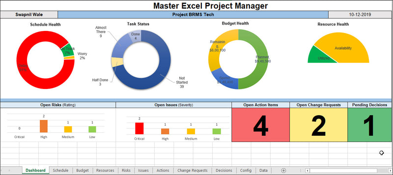 Master Excel Project Manager