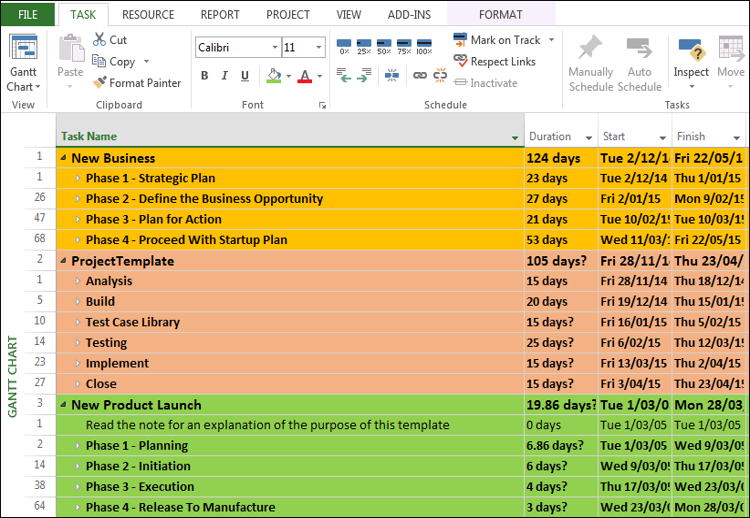 Master Project Plan Excel