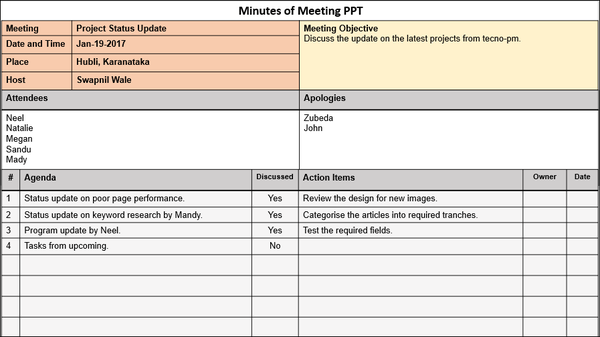 Minutes of Meeting PPT Format