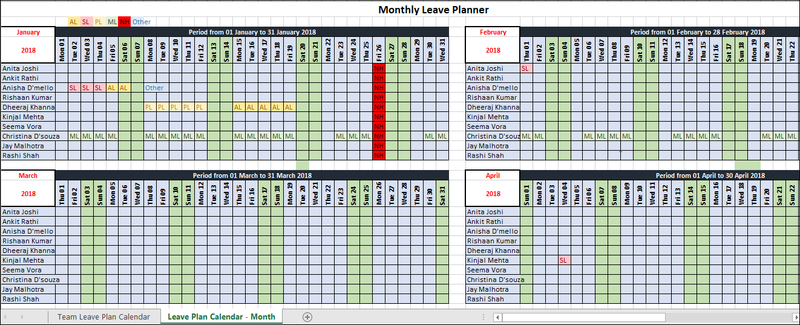 Monthly Leave Planner Template