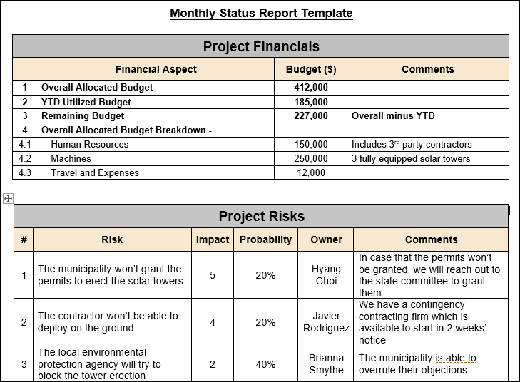 Monthly Report Template, Monthly Status Report Template
