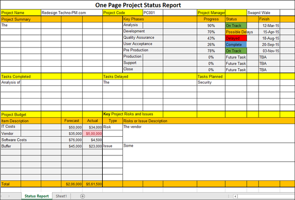 One Page Project Status Report