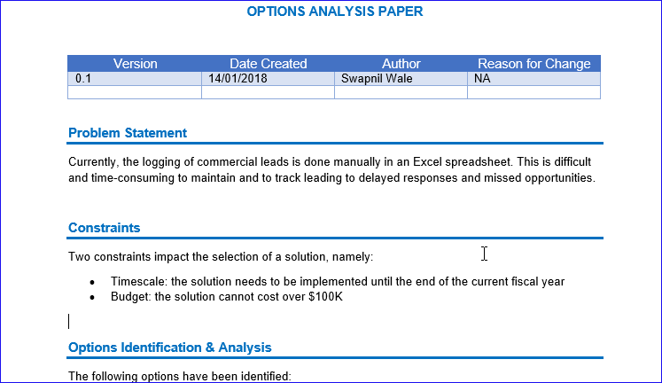 Options Analysis template, Options Analysis Word Template