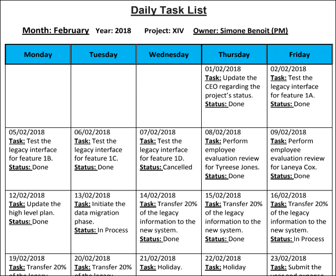 daily task list template  u203a checklist templates