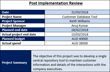 Post Implementation Review Template, Project Closure Excel Templates
