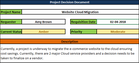 Project Decision Document excel
